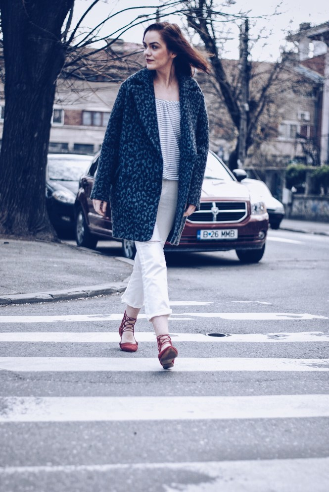 White look, animal print coat, red lace up flats by Andreea Birsan