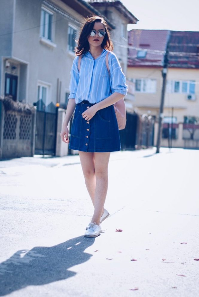 Denim Button front Skirt, Striped Shirt, SilverShoes, Backpack by Andreea Birsan