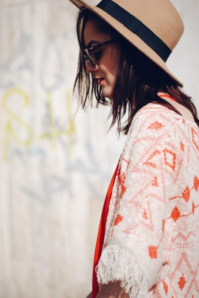 Orange dress, fringed jacket, lace up flats, hat, sunglasses, suede bag by Andreea Birsan