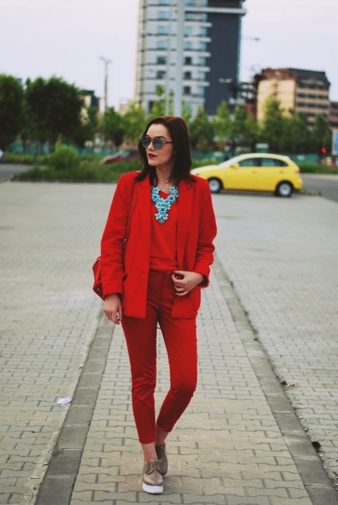 Red trousers, red blazer, red top, nude shoes, red backpack, all red outfit, statement necklace, spring outfit, so real sunglasses by Andreea Birsan