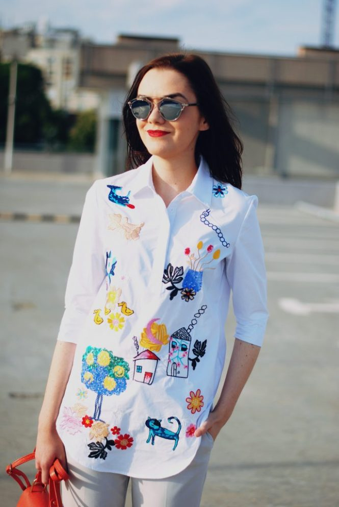 Embroidered shirt, statement shirt, grey trousers, so real sunglasses, chloe drew lookalike apricot crossbody bag, nude platform shoes, cute summer outfit by Andreea Birsan