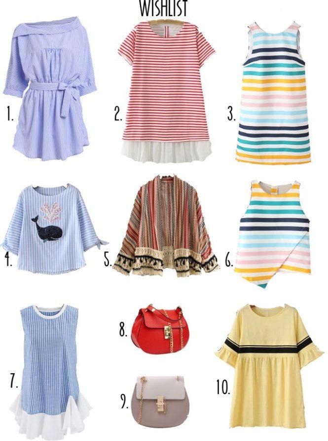 Grey pleated midi skirt post, striped wishlist