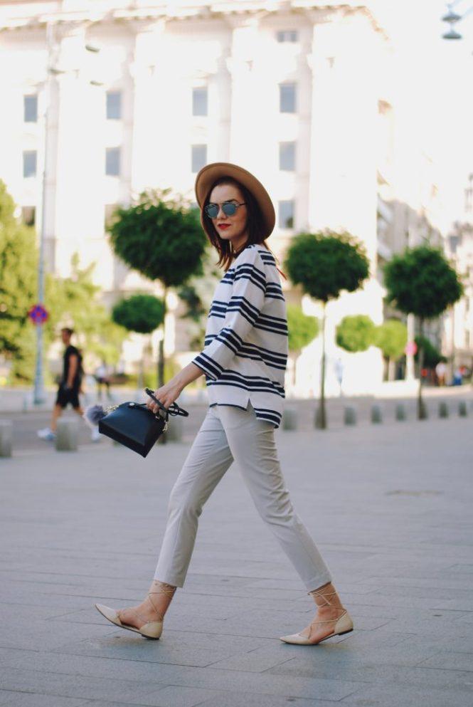 Striped blouse, grey trousers, camel fedora hat, furla crossbody bag, pom pom, christian dior sunglasses, beige lace up flats, summer basics, cute summer outfit, Andreea Birsan