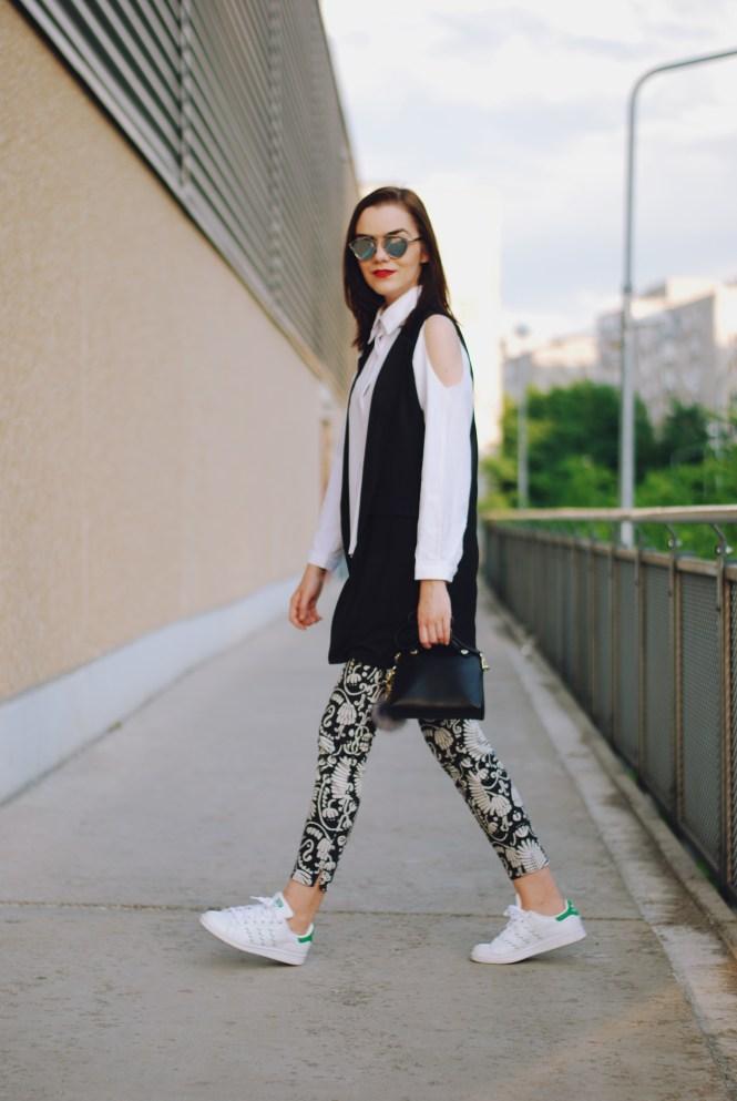 White button down shirt, black waistcoat vest, print trousers, adidas stan smith white sneakers, furla bag, pom pom, christian dior sunglasses, cute summer outfit, Andreea Birsan