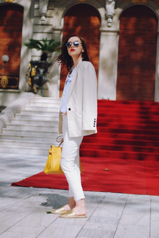 White flirty tshirt, cream blazer, white distressed cropped flared jeans, gold metallic flat mules, yellow bag, christian dior sunglasses, cute summer outfit, summer trends by Andreea Birsan (3)