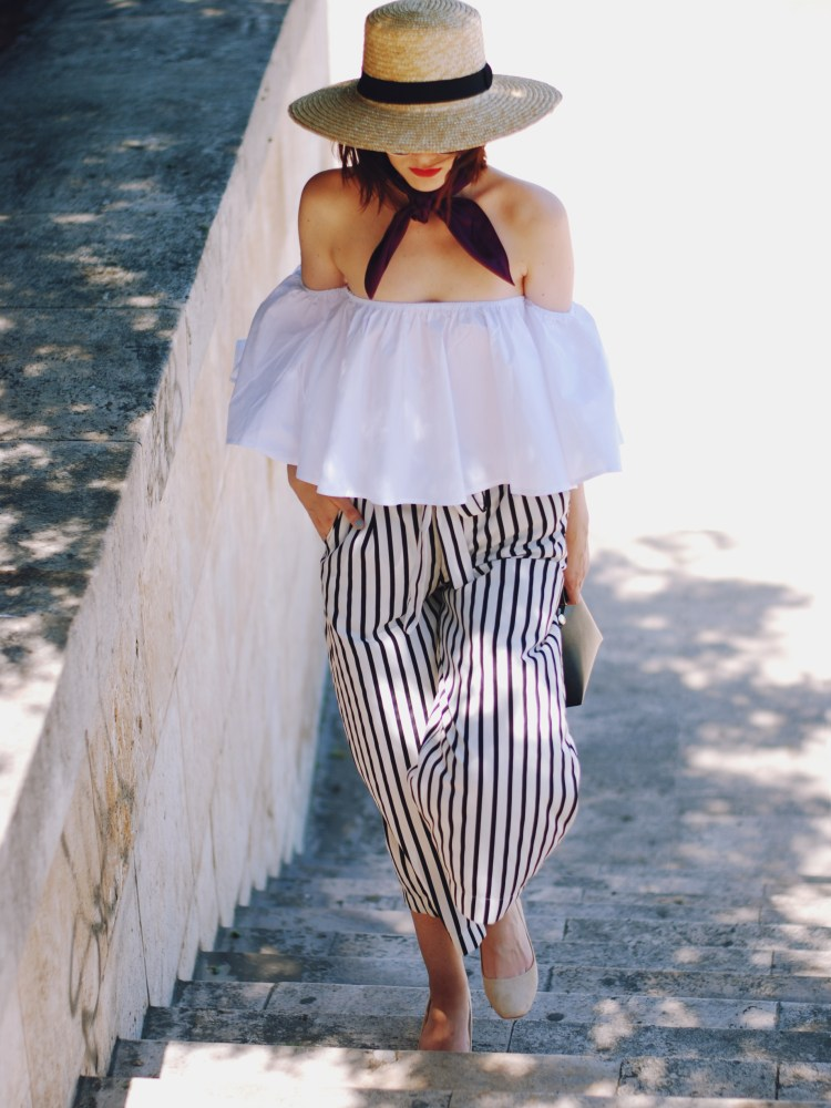 Straw hat, Dior sunglasses, white off shoulder top, zara striped culottes, furla crossbody bag, silk scarf, beige suede pumps, chic summer outfit, Andreea Birsan