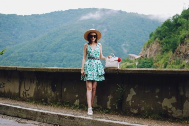 Zara print dress, belt, white waistcoat vest, white sneakers, straw hat, sunglasses, white crossbody bag, cute summer outfit, Andreea Birsan