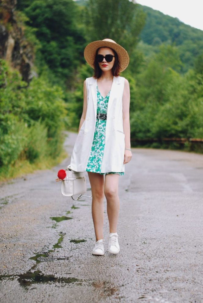 Zara print dress, belt, white waistcoat vest, white sneakers, straw hat, sunglasses, white crossbody bag, cute summer outfit, Andreea Birsan