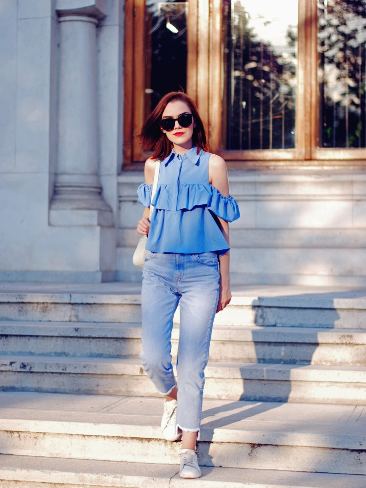 Baby blue off shoulder top, sunglasses, mom jeans, white sneakers, pastel backpack, cute summer back to school outfit, Andreea Birsan