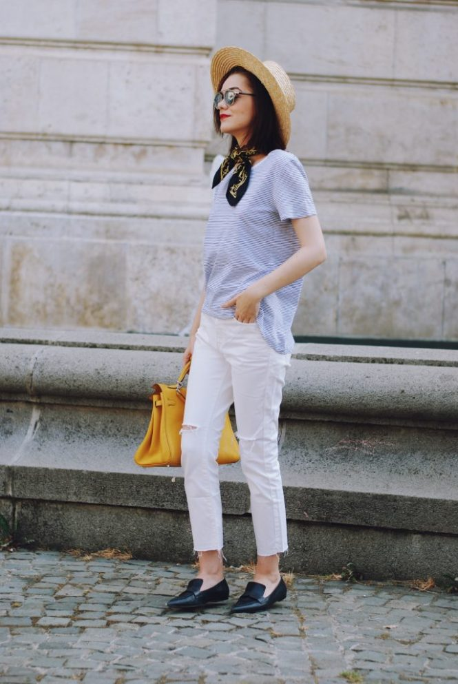 Straw hat, scarf, Christian Dior sunglasses, striped tshirt, white flared jeans, yellow hermes kelly bag, mango pointy toe loafers, cute summer outfit, Andreea Birsan