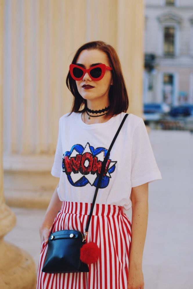 Striped midi skirt, red sunglasses, furla mini crossbody bag, sequin tshirt, chocker, pom pom, white sneakers, cute summer outfit, Andreea Birsan