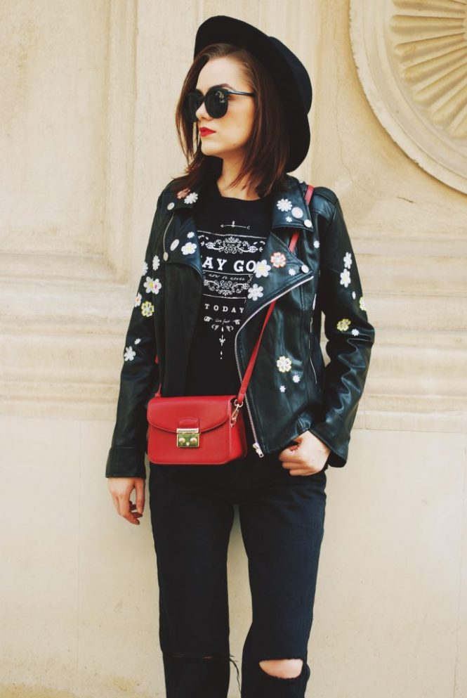 Black mom jeans, printed tshirt, embroidered leather jacket, fedora hat, sunglasses, red crossbody bag, glitter shoes, fall outfit idea, Andreea Birsan