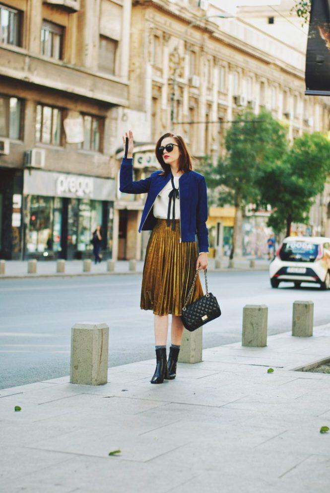 Blue suede jacket, ruffled top, gold metallic midi skirt, black crossbody bag, zara ankle boots, glitter socks, fall outfit idea, Andreea Birsan