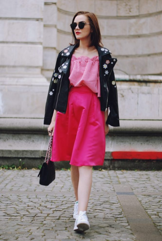 Embroidered leather jacket, pink midi skirt, gingham off shoulder top, sunglasses, stan smith white sneakers, crossbody bag, cute autumn outfit, Andreea Birsan