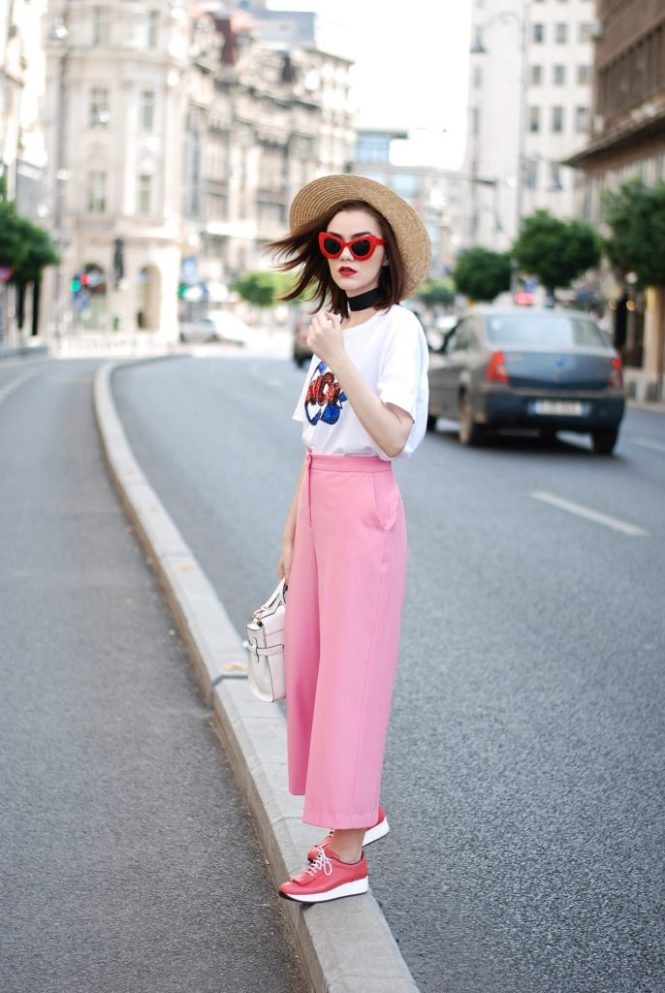 Zara pink palazzo pants, message tshirt, graphic t-shirt, asos, mango, rivers island, topshop printed tee, sequins, nyfw, newy york fashion week, cute street style outfit, boater straw hat, retro red sunglasses, wide black choker, pink leather shoes, white leather crossbody bag, medium tote bag, cute fall outfit ideas 2017, summer color combination, Andreea Birsan, couturezilla, european fashion blog, romanian fashion blogger, how to wear palazzo pants, palazzo trousers, how to wear hot pink, cute summer outfit inspiration, pinterest outfit for women, tumblr girls, ootd, outfit of the day, fashionista, chic on a budget