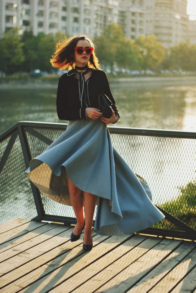 Waterfall midi grey skirt, scuba asymmetric grey skirt, contrast tie bow top, cat eye red sunglasses, black pointy toe pumps, black crossbody bag, quilted leather bag, chanel classic bag, chanel lookalike bag, cute fall outfit idea, Andreea Birsan, couturezilla, ootd, outfit of the day, romantic fall outfit inspiration, cute outfit for pinterest women, tumblr girls look, chic, chic on a budget, fashion trends for 2017, what to wear on a date night, black and grey, contrast top, tie bow neck blouse, how to look like a lady, european fashion blogger, romanian fashion blog, 2017 color combination, red cat eye sunglasses, fashion inspiration, how to wear a skirt