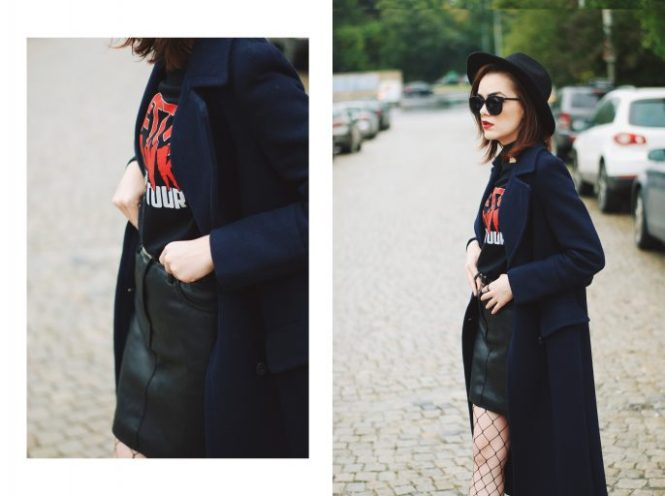 Black mini leather skirt, graphic tshirt top, fishnet tights, fedora hat, zara ankle boots, leather crossbody bag, long navy coat, choker, fall outfit idea, Andreea Birsan