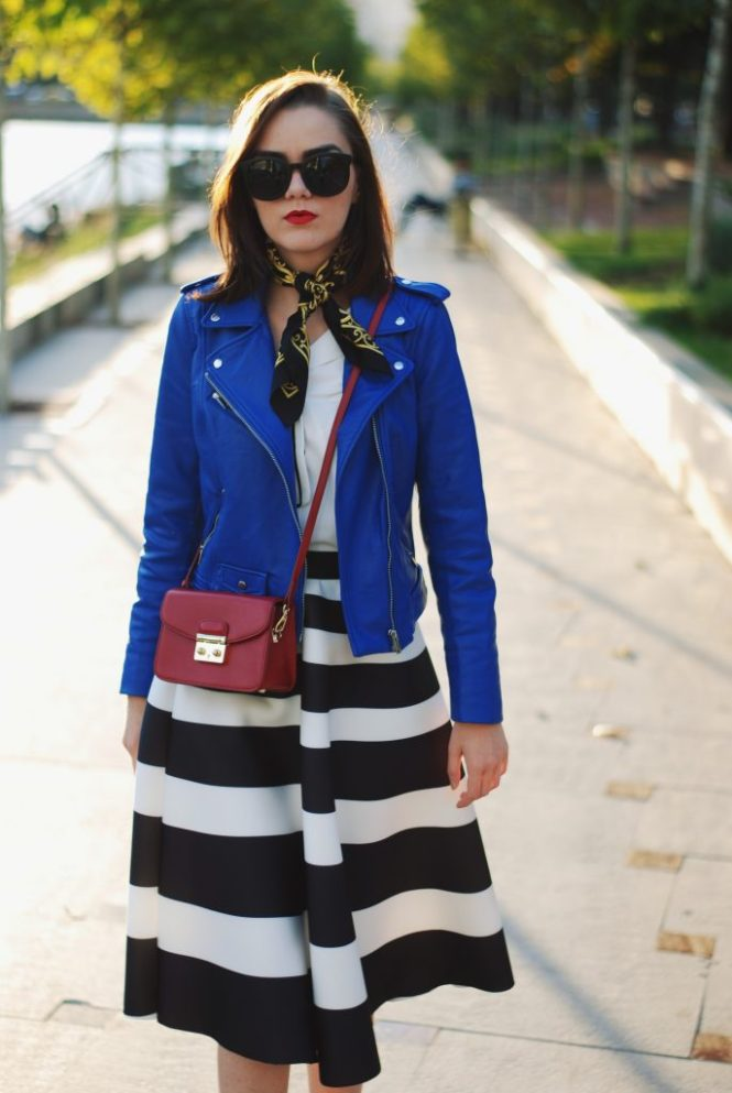 Blue leather jacket, white contrast top, cat eye sunglasses, striped midi skirt, zara leather ankle boots, red crossbody bag, scarf, cute best fall outfit idea, Andreea Birsan