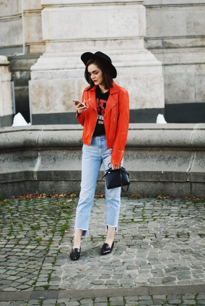 Orange leather jacket, step hemmed light wash mom jeans, zara punk graphic tshirt, black leather pointy toe loafers, furla piper s leather crossbody bag, black fedora hat, couturezilla, andreea birsan, christian dior mirrored sunglasses, cute and casual fall outfit ideas 2016
