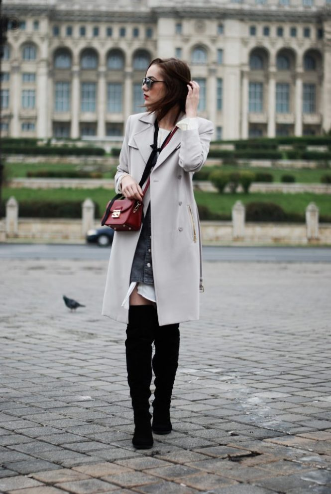 Over the knee boots OTK, ruffle top, shirt dress, mini grey button front skirt, red crossbody bag, trench coat, zara, cute casual fall outfit idea, mirrored sunglasses, Andreea Birsan