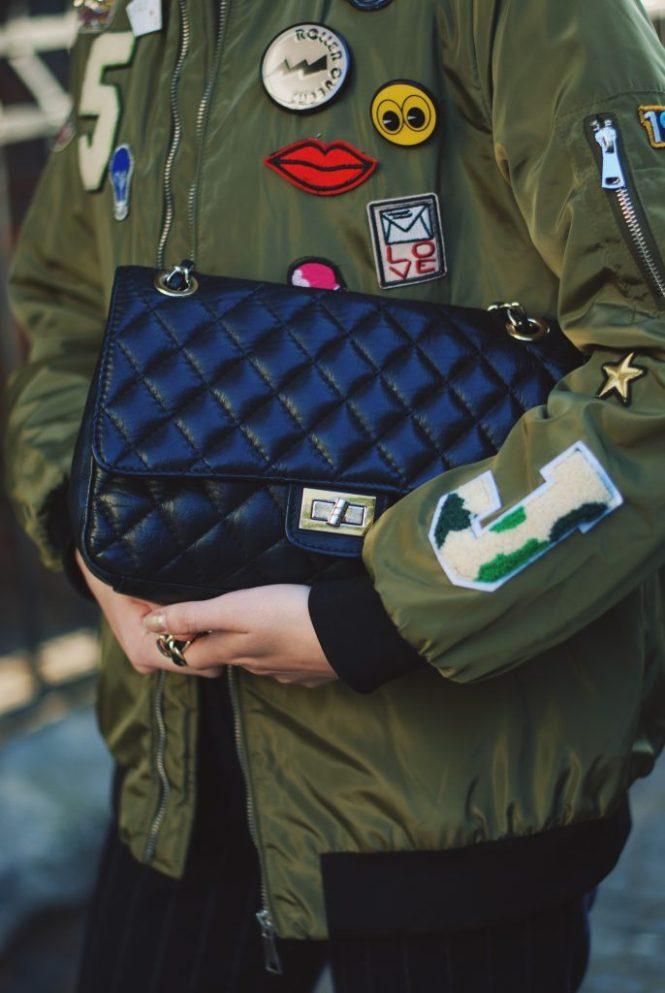 Pinstripe pants trousers, khaki bomber jacket, black cami, choker, zara ankle boots, crossbody bag, fall outfit, Andreea Birsan