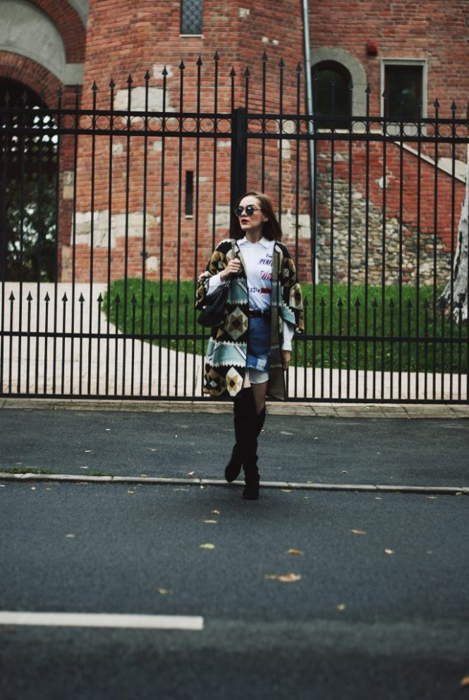 Printed cape, poncho, white button down shirt, distressed mini denim skirt, boots and skirt, graphic tshirt, suede over the knee boots, otk boots, quilted leather crossbody bag, cute and casual fall outfit idea, Andreea Birsan , Couturezilla, christian dior mirrored sunglasses