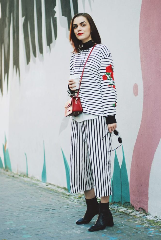 Striped culottes, floral striped sweater, choker, tshirt, zara ankle boots, red crossbody bag, fall outfit, sweater weather, Andreea Birsan
