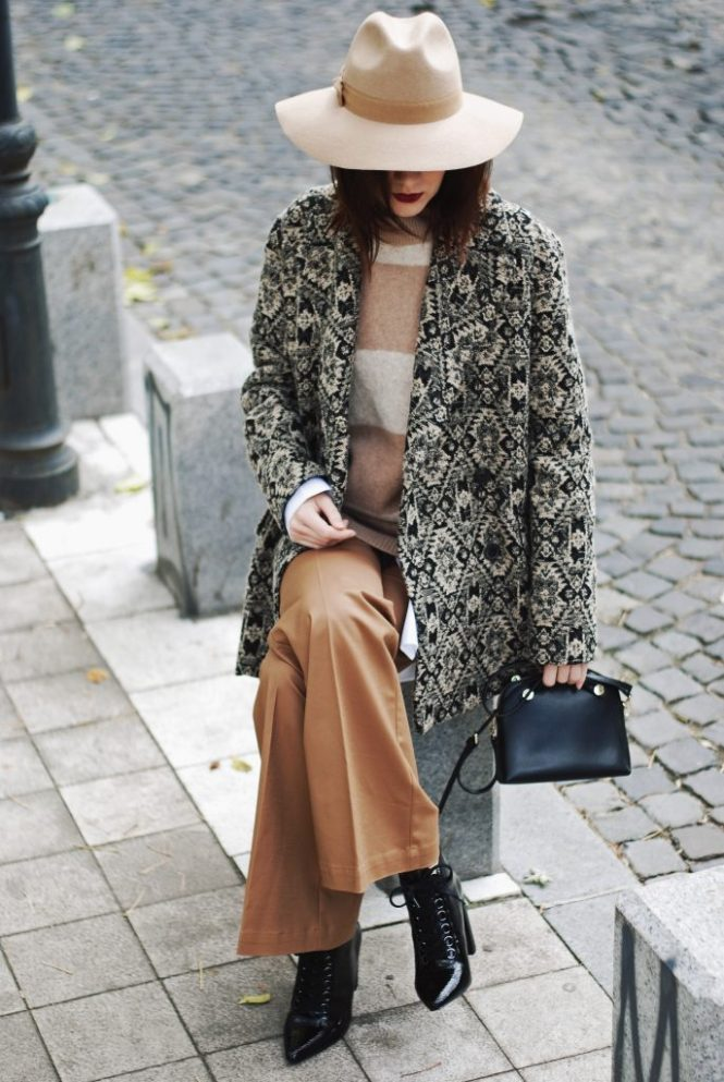 Printed coat, camel hat, flared camel pants, camel striped sweater, furla leather mini crossbody bag, zara lace up pointed toe ankle boots, shirt, couturezilla, cute fall outfit ideas 2016, casual, andreea birsan