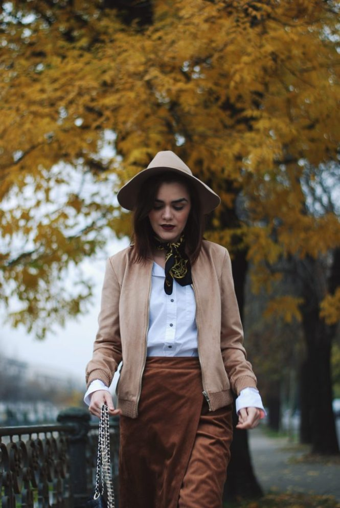 brown midi wrap skirt, white button down shirt, scarf, beige suede bomber jacket, beige hat, fishnet tights, quilted leather crossbody bag, brown suede ankle boots, casual, zara cute fall outfit ideas 2016, couturezilla, andreea birsan