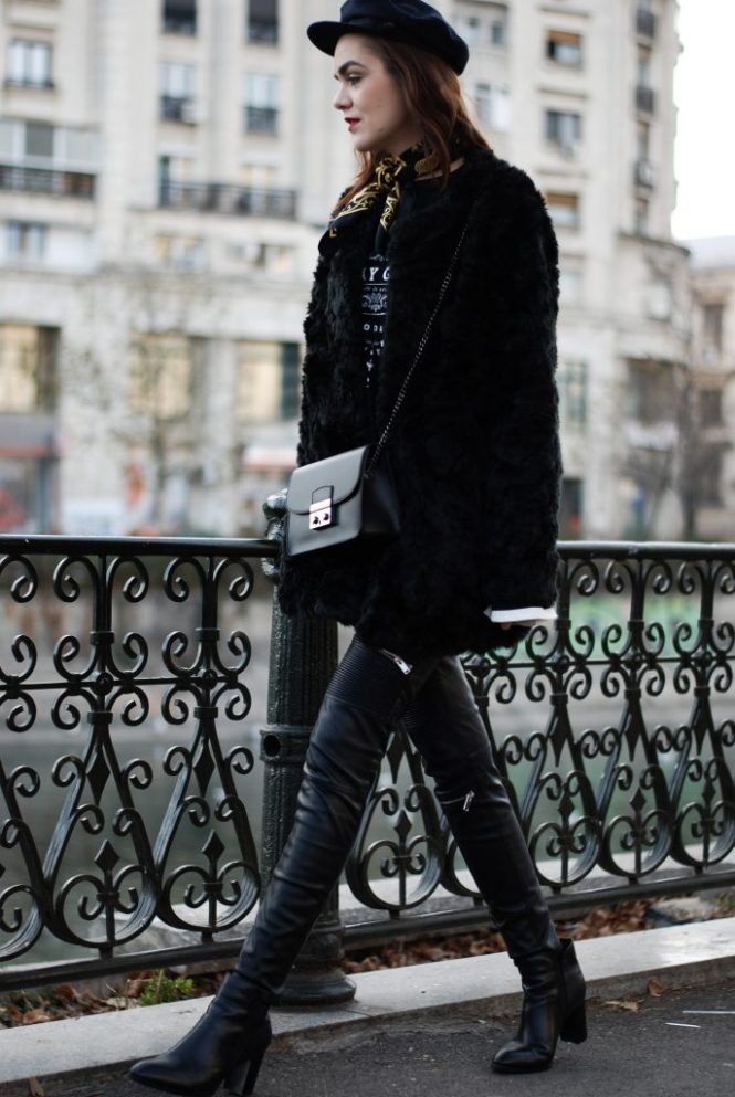 Faux fur coat, faux fur jacket, contrast bell sleeve top, graphic tee, newsboy cap, marina cap, zara leather pants, pu pants, moto pants, pointed toe leather ankle boots, how to look parisian, skinny scarf, black furla metropolis mini crossbody bag, andreea birsan, couturezilla, cute winter outfit ideas 2016, casual outfit ideas, fall outfit, all black outfit