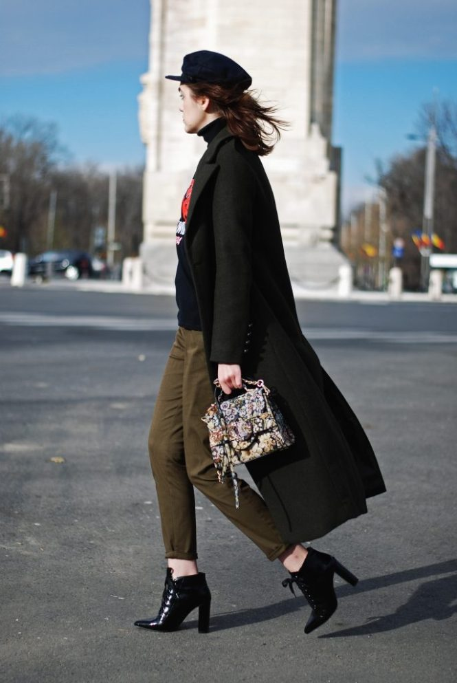 Khaki military coat, zara black turtleneck sweater, khaki pants, joggers, patent lace up pointed toe ankle boots, embroidered crossbody bag, miu miu lookalike bag, marina cap, graphic rock tshirt, granny eyeglasses, andreea birsan, couturezilla, cute winter outfit, chic outfit ideas, street style inspiration 2016, casual outfits, dress for the cold weather,tumblr outfit, ootd, tumblr girls, all khaki outfit, parisian chic outfit, pinterest outfit