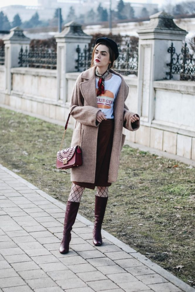 Brown suede midi wrap skirt, graphic tee, fishnet tights, zara navy military hat, tommy hilfiger knee high burgundy boots, furla metropolis red bag, H&M camel beige coat, silver hoop earrings andreea birsan, couturezilla, asos, mango, graphic tshirt, silky scarf, how to look parisian, topshop, fresh casual winter outfit ideas, what to wear a wrap skirt with, how to style knee high boots, pinterest outfits, tumblr outfit, ootd, european fashion blogger, romanian fashion blog