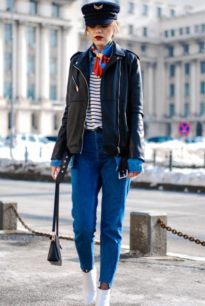 HM Step hem two tone mom jeans, denim shirt, double denim, striped top, black biker long leather jacket, zara white ankle boots, black leather furla crossbody bag, tommyxgigi military cap, silver hoop earrings, andreea birsan, mango, asos, topshop, how to look parisian, silk french knot scarf couturezilla, cute and casual winter outfit ideas, cool spring outfit, how to look cool, tumblr outfit, ootd, european fashion blogger street style, chic on a budget