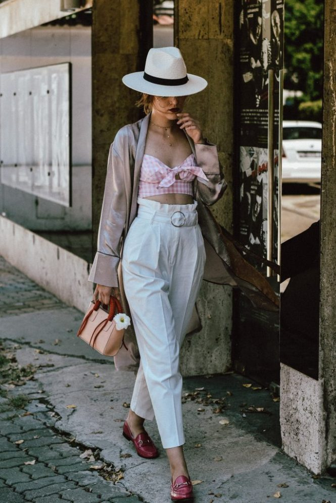 Cloroom mulberry silk dusty pink kimono robe, silk robe, how to wear sleepwear on the street, silk sleepwear, pull and bear pink and white gingham crop top pink, mango white trousers, topshop white peg trousers, coolest pants of instagram, the best white trousers, circle belt pants, white trousers, how to wear white trousers like a pro, the adult way to wearing a crop top, pink and white gingham blouse, tie front blouse, white and pink, how to wear more shades of pink in one outfit, gucci horsebit pink loafers, pink gucci shoes, classic gucci shoes, hot pink shoes, how to wear pink like a pro, what to wear with a crop top, how to wear a crop top and not look awkward , brixton white panama straw hat, gucci pink loafers, mini bag, andreea birsan, couturezilla, cute summer outfit ideas 2017, colorblock mini leather bag, shoulder bag, micro bag trend, statement tote handles, statement bag, pink and red bag, cutest mini bag, aviator glasses, the clear lens glasses you have seen all over instagram, the best eye glasses, how to wear glasses and not look like a geek, crop top and high waisted pants, high waist trousers, the sold out zara trousers, how to look Parisian chic, European summer street style inspiration for women 2017, pinterest chic outfit ideas for woman, summer outfit ideas, summer ootd inspiration, outfit of the day, ootd, fashion icon, style inspiration, fashionista, fashion inspiration, style inspo, what to wear in summer, how to look French, chic on a budget, zara outfit, mango, topshop, asos, river island, forever 21, urban outfitters, how to mix high end pieces with luxury ones, zara and Gucci, how to look chic when not wearing a dress, outfit alternatives for summer, tomboy chic, minimal outfit, tumblr girls photos, pictures, happy girl, women, smart casual outfits, the best outfit ideas 2017, what to wear when you don't feel inspired, summer in Europe, weekend attire, uniform, French women in summer, European outfit ideas 2017, minimal chic outfit, how