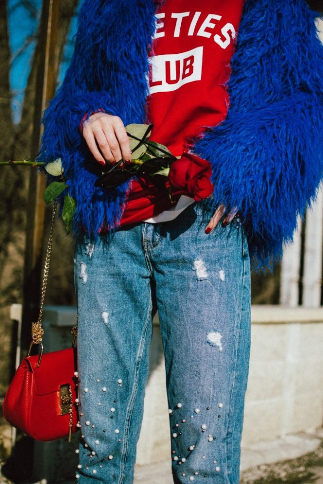 Boohoo blue mongolian fur jacket, cobalt faux fur jacket, fur coat, popular zara pearl jeans, step hem zara jeans with pearls, how to wear mom jeans like a pro. red sweatshirt, asos small cat eye sunglasses, black heeled sock boots, red chloe drew bag, baker boy hat, andreea birsan, couturezilla, cute winter outfit ideas 2018, where to find the best mom jeans, best jeans with pearls, pearl embellished denim, distressed denim, jeans, red and blue outfit, how to mix red and blue, balenciaga lookalike sock boots, knife boots, the best sock boots under 50$, red sweatshirt with print, how to mix athleisure clothes in a cool look, statement earrings, rhinestones, fun 90s socks, how to wear the retro sunglasses like a fashion blogger, 90s sunglasses, micro sunglasses trend, red chloe drew dupe, red chloe drew shoulder bag lookalike, pearl embellishements, the best way to wear red and blue this winter, roses, how to look Parisian chic, European summer street style inspiration for women 2017, pinterest chic outfit ideas for woman, summer outfit ideas, summer ootd inspiration, outfit of the day, ootd, fashion icon, style inspiration, fashionista, fashion inspiration, style inspo, what to wear in summer, how to look French, chic on a budget, zara outfit, mango, topshop, asos, river island, forever 21, urban outfitters, how to mix high end pieces with luxury ones, zara and Gucci,outfit alternatives for summer, tomboy chic, minimal outfit, tumblr girls photos, pictures, happy girl, women, smart casual outfits, the best outfit ideas 2017, what to wear when you don't feel inspired, summer in Europe, weekend attire, uniform, French women in summer, European outfit ideas 2017, minimal chic outfit, how to stand out, the best outfit ideas for summer, the sunglasses you have seen everywhere on Instagram, glasses, uk fashion blogger, united kingdom, uk fashion blog, fashion and travel blog, Europe, women with style, street style, summer fashion trends 2017, best fashion ideas, styling, fall fashion, fall outfit, fall ootd, fall perfect, transitional dressing, best transitional outfit ideas, how to wear statement earrings, dressing for autumn, autumn outfit, winter outfit ideas for work and school 2017