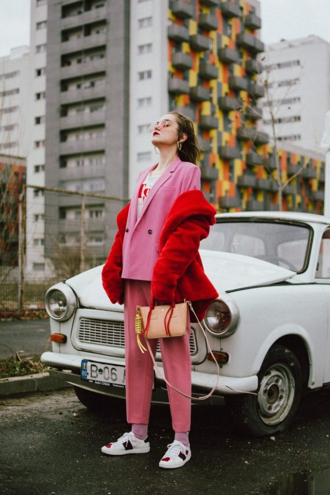Pink high waisted peg trousers, blush pink pants, trousers with high waist and big belt, the cute pink trousers from zara, topshop tailored pink blazer, dusty pink jacket, how to wear a pink suit like a pro, graphic t-shirt, fearless girl, statement leather two tone bag, cute mini bag, micro bag trend, isla fontaine bag, pink tinted aviator sunglasses, gucci ace hear embroidered white sneakers, gucci ace shoes, gucci ace white sneakers with hearts, leather white sneakers, genuine leather, boohoo red faux fur coat, andreea birsan, couturezilla, cute winter outfit ideas for 2018, how to wear faux fur coats and jackets, the teddy bear coats trend, how to wear red and pink, pink and red outfit for winter, suit up in winter, winter suit outfit ideas for women 2018, pink glitter socks with unicorns, how to wear a suit with sneakers, 2018 fresh casual ideas, american style, andreea birsan street styles, asos, casual off duty style, couturezilla, cute and casual outfits for spring 2018, european fashion blogger, fashion inspiration, fashion inspo, fashionista, how to dress like a parisian, how to look parisian chic, how to make minimal outfits stand out, mango, minimal outfits for spring, modern minimalism, ootd, outfit of the day, pinterest outfit for women, red cat eye sunglasses, red lipstick, romanian fashion blog, romanian fashion blogger, silk scarf, spring fashion trends for 2018, spring outfit inspiration 2018, spring outfits for women, spring street style 2018, topshop, tumblr girls outfit, women with style, zara, uk blogger, fall dressing, transitional outfits, autumn ootd, autumn outfit, fall fashion, winter outfit ideas 2018, cute winter ootd, winter outfit ideas for work and school, street style 2018, sex and the city necklace, name necklace, heart shaped hoop earrings, fast fashion mixed with luxury items
