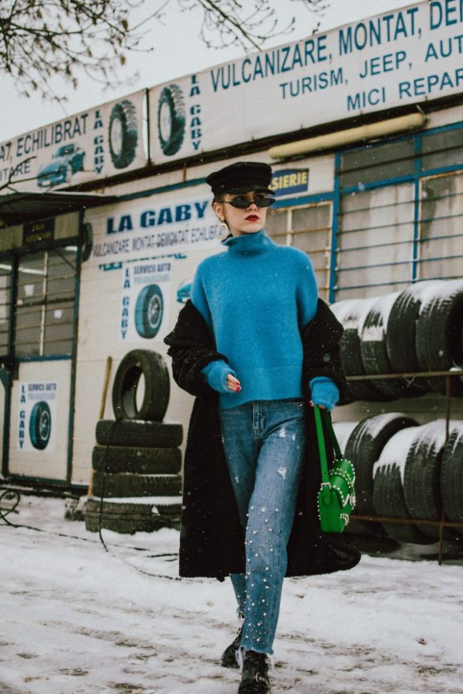 Black long teddy bear coat, cashmere blue turtleneck sweater, mohair blend cobalt sweater, prada saffiano leather green shoulder bag with studs and stones, pearl jeans, boots, cap, andreea birsan, couturezilla, cute winter outfit ideas 2018, green prada bag, balenciaga inspired black patent boots with buckles, micro cat eye sunglasses, statement earrings, baker boy hat, newsboy cap, black hat, how to layer when it snows, green blue and black winter outfit, pearl embellished step hem mom jeans, the popular zara pearled jeans, jeans with pearls, retro sunglasses, mini sunglasses. micro sunglasses trend, snow. cashmere sweater, how to look Parisian chic, European summer street style inspiration for women 2017, pinterest chic outfit ideas for woman, summer outfit ideas, summer ootd inspiration, outfit of the day, ootd, fashion icon, style inspiration, fashionista, fashion inspiration, style inspo, what to wear in summer, how to look French, chic on a budget, zara outfit, mango, topshop, asos, river island, forever 21, urban outfitters, how to mix high end pieces with luxury ones, zara and Gucci,outfit alternatives for summer, tomboy chic, minimal outfit, tumblr girls photos, pictures, happy girl, women, smart casual outfits, the best outfit ideas 2017, what to wear when you don't feel inspired, summer in Europe, weekend attire, uniform, French women in summer, European outfit ideas 2017, minimal chic outfit, how to stand out, the best outfit ideas for summer, the sunglasses you have seen everywhere on Instagram, glasses, uk fashion blogger, united kingdom, uk fashion blog, fashion and travel blog, Europe, women with style, street style, summer fashion trends 2017, best fashion ideas, styling, fall fashion, fall outfit, fall ootd, fall perfect, transitional dressing, best transitional outfit ideas, how to wear statement earrings, dressing for autumn, autumn outfit, winter outfit ideas for work and school 2017