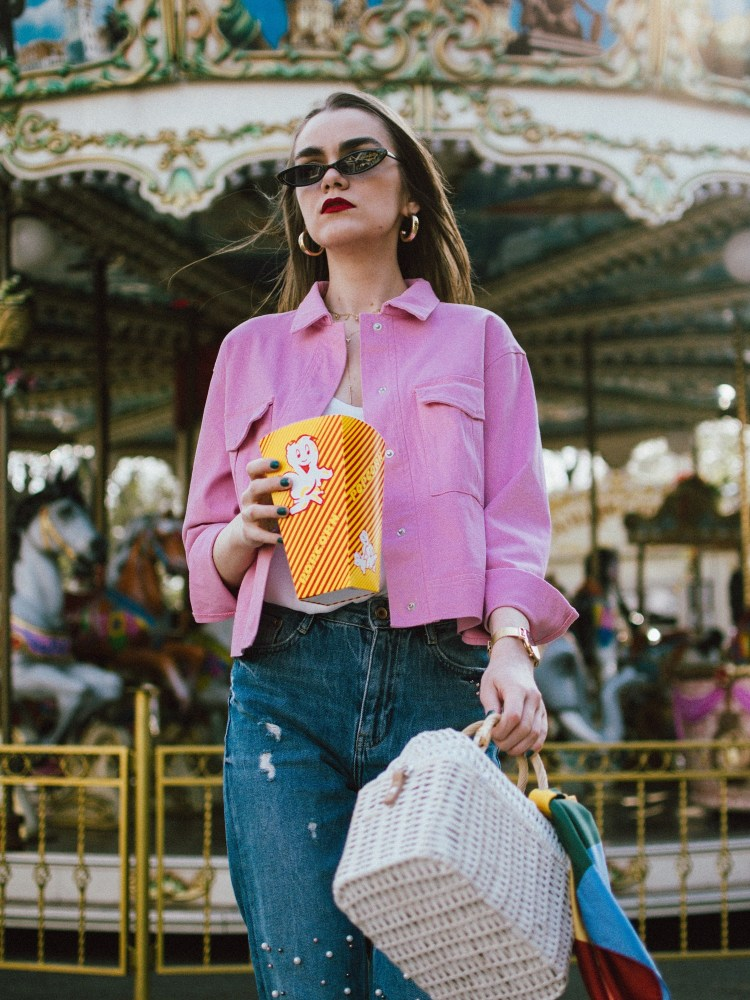 Pink cropped jacket, pearl embellishes mom jeans, pink mules, white straw bag, micro sunglasses, andreea birsan, couturezilla, cute spring outfit ideas 2018, pink dehim jacket, pink jacket, cotton jacket, how to wear double denim like a fashion blogger, canadian tuxedo how to, white cami top, spaghetti straps top, camisole, how to wear a camisole, the zara sold out pearl embellished mom jeans, step hem mom jeans, pearl jeans, pearl denim, pearled jeans, the best jeans with pearls, pink suede wconcept kitten heel mules, marcie pink mules with kitten heel, pink mules, how to wear mules, what to wear with mules, how to pull off double denim, the small sunglasses trend, micro sunglasses, matrix sunglasses, 90s sunglasses, small cat eye sunglasses from asos, sold out small sunglasses, where to find the best small sunglasses, layered gold necklaces, wconcept, w concept, designer, gold hoop earrings, bamboo basket bag in white, limited edition raffia bag, cutest bag from mango, beautiful bag on a budget, straw bag for summer, how to wear the straw bag trend, striped scarf, carousel, popcorn, blue and pink, how to wear pink without looking too feminine, kitten heels, mules, slides, how to look Parisian chic, European summer street style inspiration for women 2017, pinterest chic outfit ideas for woman, summer outfit ideas, summer ootd inspiration, outfit of the day, ootd, fashion icon, style inspiration, fashionista, fashion inspiration, style inspo, what to wear in summer, how to look French, chic on a budget, zara outfit, mango, topshop, asos, river island, forever 21, urban outfitters, how to mix high end pieces with luxury ones, zara and Gucci,outfit alternatives for summer, tomboy chic, minimal outfit, tumblr girls photos, pictures, happy girl, women, smart casual outfits, the best outfit ideas 2017, what to wear when you don't feel inspired, summer in Europe, weekend attire, uniform, French women in summer, European outfit ideas 2017, minimal chic outfit, how to stand out, the best outfit ideas for summer, the sunglasses you have seen everywhere on Instagram, glasses, uk fashion blogger, united kingdom, uk fashion blog, fashion and travel blog, Europe, women with style, street style, summer fashion trends 2017, best fashion ideas, styling, fall fashion, fall outfit, fall ootd, fall perfect, transitional dressing, best transitional outfit ideas, how to wear statement earrings, dressing for autumn, autumn outfit, winter outfit ideas for work and school 2017
