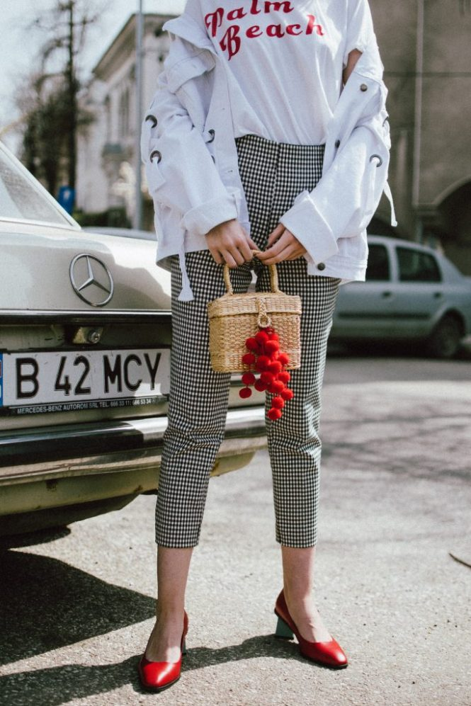 Spring basics, Zara gingham trousers, graphit tee, oversize white jacket with lace up, red shoes, straw bag, andreea birsan, couturezilla, cute spring outfit ideas 2018, high waist check trousers, checkered pants, vichy trousers, black and white trousers, check printed trousers, retro pants, printed t-shirt with message, red cat eye sunglasses, layered gold necklaces, gold hoop earrings, straw bag, raffia bag, the cutest bag for spring and summer, the straw bag trend, where to find the best straw bat, straw bag with red pom pom, red pompom, red accessories, black white and red spring outfit ideas, rattan bag, wicker bag, basket bag for spring and summer, white denim jacket, oversized jacket, oversize white denim jacket with lace out details, denim jacket with a twist, red leather shoes with fun heel, block heel red shoes, red leather, how to look Parisian chic, European summer street style inspiration for women 2017, pinterest chic outfit ideas for woman, summer outfit ideas, summer ootd inspiration, outfit of the day, ootd, fashion icon, style inspiration, fashionista, fashion inspiration, style inspo, what to wear in summer, how to look French, chic on a budget, zara outfit, mango, topshop, asos, river island, forever 21, urban outfitters, how to mix high end pieces with luxury ones, zara and Gucci,outfit alternatives for summer, tomboy chic, minimal outfit, tumblr girls photos, pictures, happy girl, women, smart casual outfits, the best outfit ideas 2017, what to wear when you don't feel inspired, summer in Europe, weekend attire, uniform, French women in summer, European outfit ideas 2017, minimal chic outfit, how to stand out, the best outfit ideas for summer, the sunglasses you have seen everywhere on Instagram, glasses, uk fashion blogger, united kingdom, uk fashion blog, fashion and travel blog, Europe, women with style, street style, summer fashion trends 2017, best fashion ideas, styling, fall fashion, fall outfit, fall ootd, fall perfect, transitional dressing, best transitional outfit ideas, how to wear statement earrings, dressing for autumn, autumn outfit, winter outfit ideas for work and school 2017