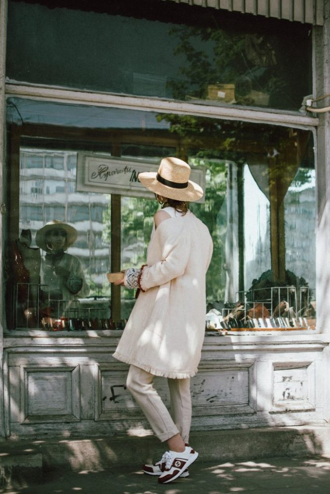 massimo dutti beige trousers, white cami top with flower broderie, zara beige linen jacket, straw boater hat, red leather fanny bag, gucci white and red leather sneakers, andreea birsan, couturezilla, cute spring outfit ideas 2018, mini oval sunglasses, gold layered necklaces, silk scarf, linen, how to wear all beige, all beige outfit, cream pants, massimo dutti linen line, linen and cotton, straw hat, fedora hat, boater, red furla metropolis bag lookalike, red bag, beige outfit 2018, how to wear beige outfits, monocrome look, monochromatic look, how to wear beige from head to toe, beige looks, cream, brown, light colors for spring, beige and red, how to look Parisian chic, European summer street style inspiration for women 2017, pinterest chic outfit ideas for woman, summer outfit ideas, summer ootd inspiration, outfit of the day, ootd, fashion icon, style inspiration, fashionista, fashion inspiration, style inspo, what to wear in summer, how to look French, chic on a budget, zara outfit, mango, topshop, asos, river island, forever 21, urban outfitters, how to mix high end pieces with luxury ones, zara and Gucci,outfit alternatives for summer, tomboy chic, minimal outfit, tumblr girls photos, pictures, happy girl, women, smart casual outfits, the best outfit ideas 2017, what to wear when you don't feel inspired, summer in Europe, weekend attire, uniform, French women in summer, European outfit ideas 2017, minimal chic outfit, how to stand out, the best outfit ideas for summer, the sunglasses you have seen everywhere on Instagram, glasses, uk fashion blogger, united kingdom, uk fashion blog, fashion and travel blog, Europe, women with style, street style, summer fashion trends 2017, best fashion ideas, styling, fall fashion, fall outfit, fall ootd, fall perfect, transitional dressing, best transitional outfit ideas, how to wear statement earrings, dressing for autumn, autumn outfit, winter outfit ideas for work and school 2017