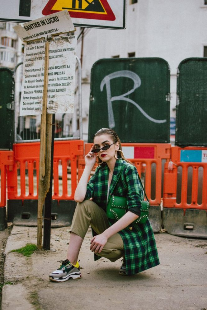 Boohoo checked double breasted blazer, khaki peg trousers, white cami, check blazer, prada green bag, micro sunglasses, chunky sneakers, andreea birsan, couturezilla, cute spring outfit ideas for 2018, asos small cat eye sunglasses, retro sunglasses, matrix inspired sunglasses trend, sunnies, check printed blazer, blazer dress, blazer for women, best blazer for work, khaki trousers, high waisted khaki trousers, green pants, khaki pants, how to wear peg trousers, how to wear peg trousers with a long blazer, big gold hoop earrings, layered necklaces, gold accessories, prada green bag, green prada bag with studs and stones, green prada shoulder bag, micro sunnies, white camisole top, massimo dutti white top, tank top, white cami with flowers, how to layer for spring, trainers, chunky trainers trend, balenciaga triple s, balenciaga triple s dupes, balenciaga triple s sneakers alternative, budget friendly alternative to the balenciaga sneakers, dad sneakers, the ugly sneakers trend, chunky trainers, how to look Parisian chic, European summer street style inspiration for women 2017, pinterest chic outfit ideas for woman, summer outfit ideas, summer ootd inspiration, outfit of the day, ootd, fashion icon, style inspiration, fashionista, fashion inspiration, style inspo, what to wear in summer, how to look French, chic on a budget, zara outfit, mango, topshop, asos, river island, forever 21, urban outfitters, how to mix high end pieces with luxury ones, zara and Gucci,outfit alternatives for summer, tomboy chic, minimal outfit, tumblr girls photos, pictures, happy girl, women, smart casual outfits, the best outfit ideas 2017, what to wear when you don't feel inspired, summer in Europe, weekend attire, uniform, French women in summer, European outfit ideas 2017, minimal chic outfit, how to stand out, the best outfit ideas for summer, the sunglasses you have seen everywhere on Instagram, glasses, uk fashion blogger, united kingdom, uk fashion blog, fashion and travel blog, Europe, women with style, street style, summer fashion trends 2017, best fashion ideas, styling, fall fashion, fall outfit, fall ootd, fall perfect, transitional dressing, best transitional outfit ideas, how to wear statement earrings, dressing for autumn, autumn outfit, winter outfit ideas for work and school 2017