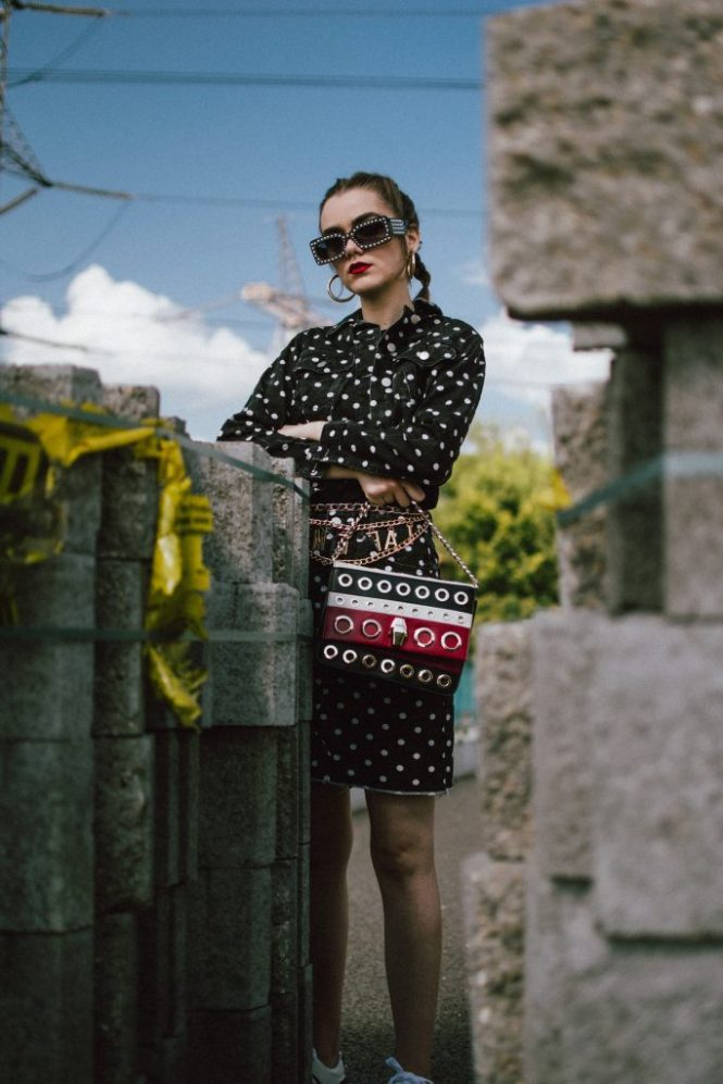 Boohoo denim polka dot set, gucci sneakers, cavalli bag, pearl sunglasses, andreea birsan, couturezilla, cute fall outfit ideas 2018, polka dot trend, how to rock the polka dot trend in autumn 2018, wear polka dots in fall 2018, how to wear a polka dot denim set, polka dot jeans, mini polka dot denim skirt, cropped polka dot jacket, black and white outfit for fall 2018, gucci inspired pearl embellished sunglasses, gold hoop earrings, medium hoop earrings, mango earrings, where to find the best earrings online, cornbraids, mini skirt and sneakers, gucci two tone sneakers, white and red gucci sneakers, gucci trainers, gucci kicks, white leather gucci sneakers, ugly sneakers trend, where to find dad sneakers, chunky sneakers, chunky trainers trend, raw hem skirt, graphic t-shirt, black t-shirt, punk t-shirt, zara cotton t-shirt, edgy fall outfit ideas by andreea birsan 2018, couturezilla's fall outfits 2018, autumn outfits 2018, fall ootd, fall outfit, autumn, how to transition your wardrobe to autumn, how to dress in autumn, bling bling sunglasses, square sunglasses, square shaped sunglasses, 90s black sunglasses, zerouv sunglasses, transitional outfits, how to transition to autumn 2018, how to wear all black, what goes with polka dots, cavalli class striped shoulder bag with eyelets, statement shoulder bag, leather crossbody bag, how to look Parisian chic, European summer street style inspiration for women 2017, pinterest chic outfit ideas for woman, summer outfit ideas, summer ootd inspiration, outfit of the day, ootd, fashion icon, style inspiration, fashionista, fashion inspiration, style inspo, what to wear in summer, how to look French, chic on a budget, zara outfit, mango, topshop, asos, river island, forever 21, urban outfitters, how to mix high end pieces with luxury ones, zara and Gucci,outfit alternatives for summer, tomboy chic, minimal outfit, tumblr girls photos, pictures, happy girl, women, smart casual outfits, the best outfit ideas 2017, what to wear 
