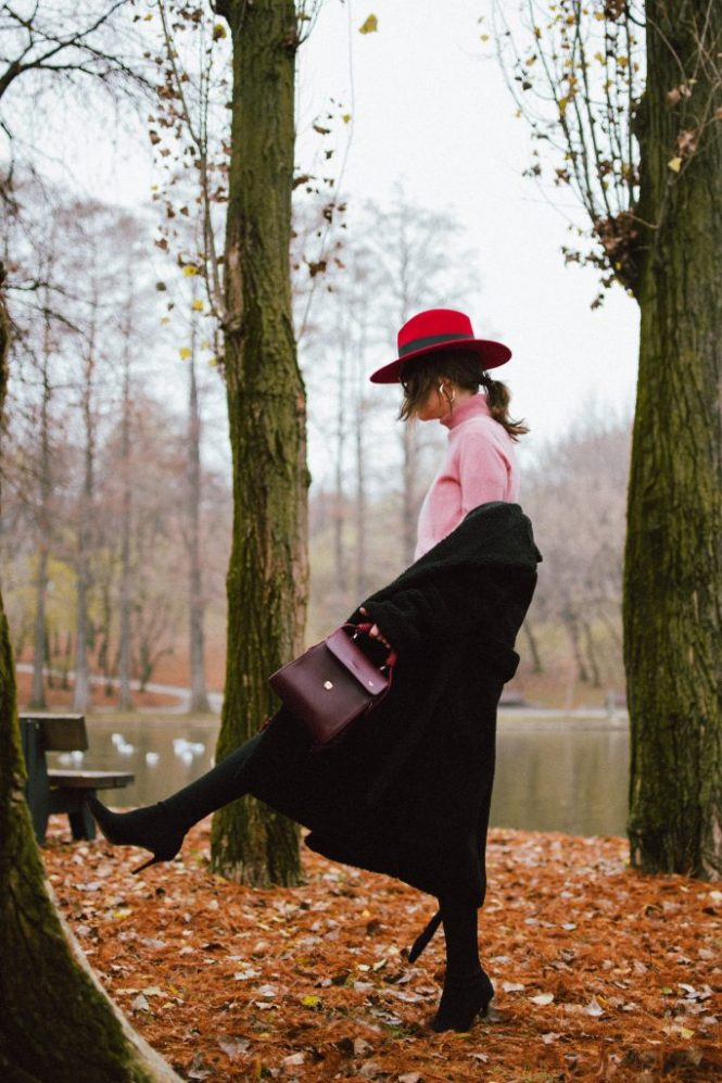Black teddy bear coat, midi tartan skirt, pink wool turtleneck sweater, red fedora hat, otk sock boots, andreea birsan street style, couturezilla, cute fall and winter outfit ideas 2018, how to wear a midi skirt with over the knee boots in winter and autumn, how to pull off midi skirts and otk boots, over the knee black heeled sock boots, massimo dutti dusty pink wool turtleneck sweater, what to wear with a pink sweater, what other color goes with pink, midi tartan skirt, wrap tartan skirt, how to pull off a tartan skirt like a pro, how to wear tartan in winter and fall, long black teddy bear coat, where to find the best teddy bear coat, affordable teddy bear coats, how to pull off teddy bear coats and not look like a child, red wool fedora hat, hats for women, black moschino inspired cat eye sunglasses, otk booties, otk boots trend for fall and winter, burgundy lady bag, burgundy leather bag, italian leather isla fontaine dark red lady bag, where to find statement bags, winter fashion, chic winter outfit ideas, winter layers, how to look Parisian chic, European summer street style inspiration for women 2017, pinterest chic outfit ideas for woman, summer outfit ideas, summer ootd inspiration, outfit of the day, ootd, fashion icon, style inspiration, fashionista, fashion inspiration, style inspo, what to wear in summer, how to look French, chic on a budget, zara outfit, mango, topshop, asos, river island, forever 21, urban outfitters, how to mix high end pieces with luxury ones, zara and Gucci,outfit alternatives for summer, tomboy chic, minimal outfit, tumblr girls photos, pictures, happy girl, women, smart casual outfits, the best outfit ideas 2017, what to wear when you don't feel inspired, summer in Europe, weekend attire, uniform, French women in summer, European outfit ideas 2017, minimal chic outfit, how to stand out, the best outfit ideas for summer, the sunglasses you have seen everywhere on Instagram, glasses, uk fashion blogger, united kingdom, uk fashion blog, fashion and travel blog, Europe, women with style, street style, summer fashion trends 2017, best fashion ideas, styling, fall fashion, fall outfit, fall ootd, fall perfect, transitional dressing, best transitional outfit ideas, how to wear statement earrings, dressing for autumn, autumn outfit, winter outfit ideas for work and school