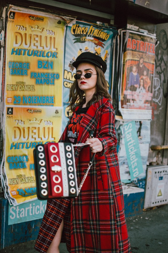 Red tartan coat, midi wrap tartan skirt, black graphic t-shirt, baker boy hat, statement bag, sock boots, andreea birsan street style, couturezilla, cute fall outfit ideas 2018. Boohoo long line red tartan coat, how to wear tartan like a pro, how to wear double tartan, mixing prints in fall 2018, tartan outfit 2018, how to wear red, the baker boy hat trend, newsboy hat, baker boy cap, black military inspired hat, black cap, soft curls, micro oval sunglasses, black vintage sunglasses, small oval sunglasses, punk black graphic t-shirt, red on red outfit, black heeled sock boots, balenciaga inspired sock boots, mango sock boots, where to find the budget alternative of the balenciaga knife sock boots, balenciaga sock boots dupes, cavalli class striped black red and white bag with big eyelets, cavalli class stripe leather shoulder bag, statement shoulder bag, red black and white shoulder bag, multicolor shoulder bag, colorblock leather bag, midi wrap tartan skirt, what shoes go with a midi skirt, midi skirt and heeled sock boots, wrap burgundy tartan midi dress, check print midi dress, scotish print, how to wear tartan in fall and winter 2018, tartan outfit street style 2018, how to look Parisian chic, European summer street style inspiration for women 2017, pinterest chic outfit ideas for woman, summer outfit ideas, summer ootd inspiration, outfit of the day, ootd, fashion icon, style inspiration, fashionista, fashion inspiration, style inspo, what to wear in summer, how to look French, chic on a budget, zara outfit, mango, topshop, asos, river island, forever 21, urban outfitters, how to mix high end pieces with luxury ones, zara and Gucci,outfit alternatives for summer, tomboy chic, minimal outfit, tumblr girls photos, pictures, happy girl, women, smart casual outfits, the best outfit ideas 2017, what to wear when you don't feel inspired, summer in Europe, weekend attire, uniform, French women in summer, European outfit ideas 2017, minimal chic outfit, how to stand ou