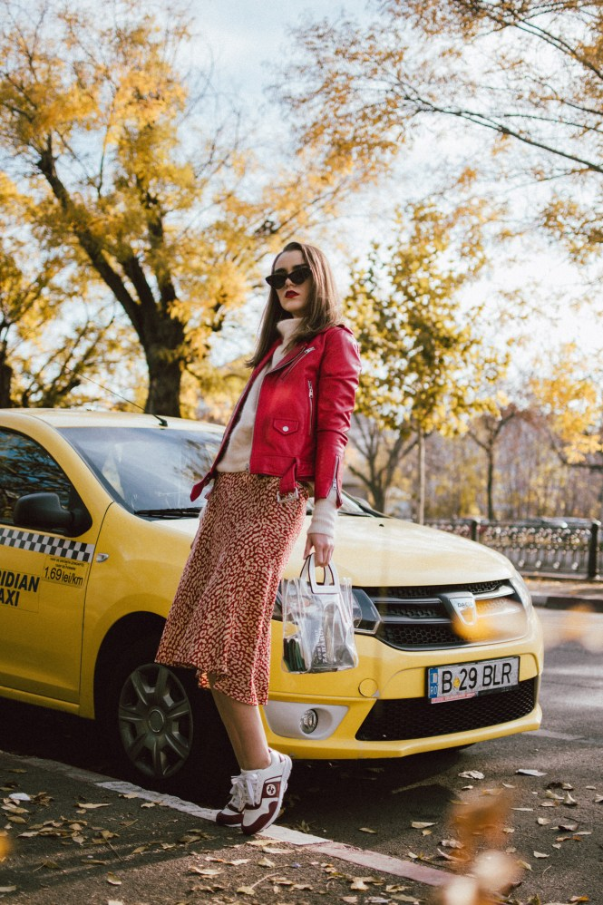 Boohoo satin midi leopard print skirt, mohair turtleneck sweater, gucci sneakers, transparent bag, red leather biker jacket, andreea birsan, couturezilla, cute fall outfit ideas 2018. beige and red midi leopard print skirt, how to wear a midi skirt, what to wear with leopard print, what colors go with animal print, cappuccino turtleneck sweater, light beige cashmere sweater, the best women's sweaters from h&m, how to layer in fall, red leather jacket and turtleneck sweater outfit, leather jacket and midi skirt, mango vinyl tote, staud inspired transparent tote bag, the pvc bag trend, is it worth getting a transparent bag, how to wear the transparent trend bag, outfits to wear to work in autumn 2018, work fall outfits 2018, gucci colorblock ugly sneakers, gucci two tone dad sneakers, gucci chunky sneakers, how to wear chunky sneakers with skirts, moschino inspired black cat eye sunglasses with studs, layer knits with leather jackets, red genuine leather biker jacket, mango red leather moto jacket, fitted leather jacket, edgy fall outfit with skirts and sweaters, how to look Parisian chic, European summer street style inspiration for women 2017, pinterest chic outfit ideas for woman, summer outfit ideas, summer ootd inspiration, outfit of the day, ootd, fashion icon, style inspiration, fashionista, fashion inspiration, style inspo, what to wear in summer, how to look French, chic on a budget, zara outfit, mango, topshop, asos, river island, forever 21, urban outfitters, how to mix high end pieces with luxury ones, zara and Gucci,outfit alternatives for summer, tomboy chic, minimal outfit, tumblr girls photos, pictures, happy girl, women, smart casual outfits, the best outfit ideas 2017, what to wear when you don't feel inspired, summer in Europe, weekend attire, uniform, French women in summer, European outfit ideas 2017, minimal chic outfit, how to stand out, the best outfit ideas for summer, the sunglasses you have seen everywhere on Instagram, glasses, uk fashion b