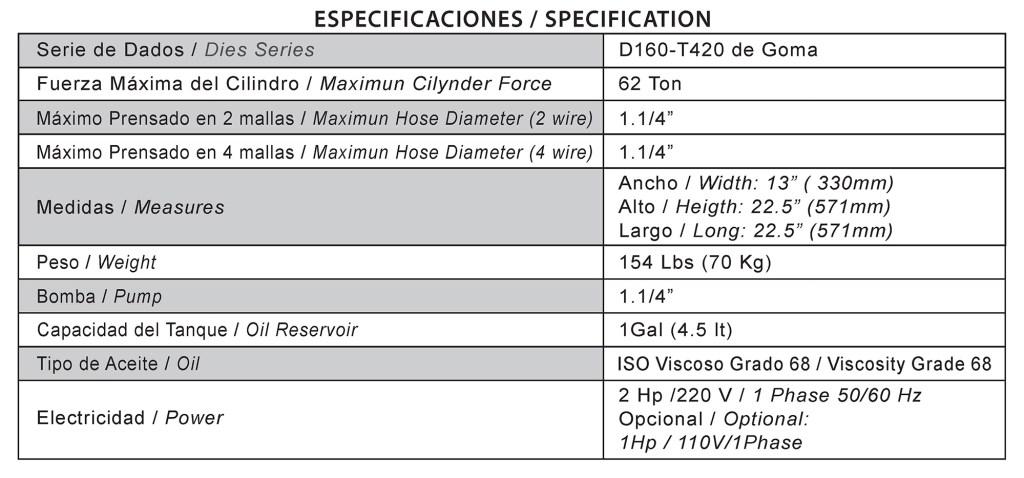 """D165 - D165 Equipo de Prensado Mangueras 4SP hasta 1.1/4"""""""