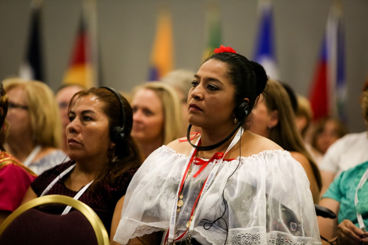 Women from around the world are attending Triennial XV, and the services are translated into their native languages.