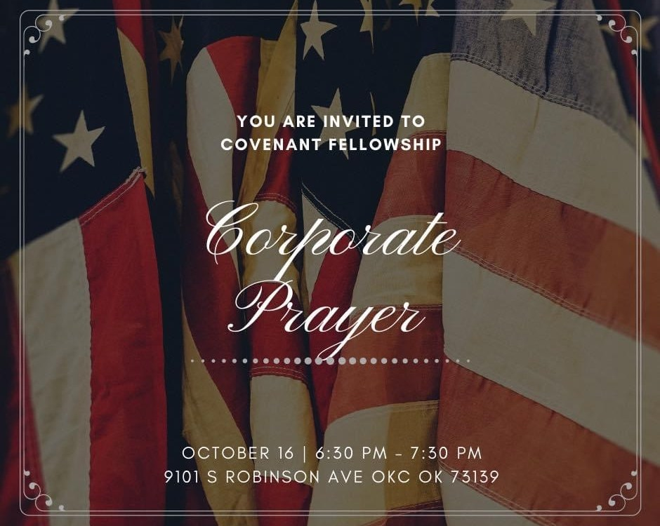 corporate prayer with flag background
