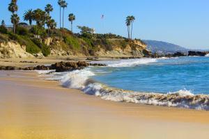 Laguna Beach California USA. Waves in the Pacific Ocean