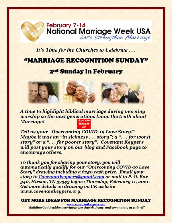 2021 Marriage Recognition Sunday Overcoming Covid19